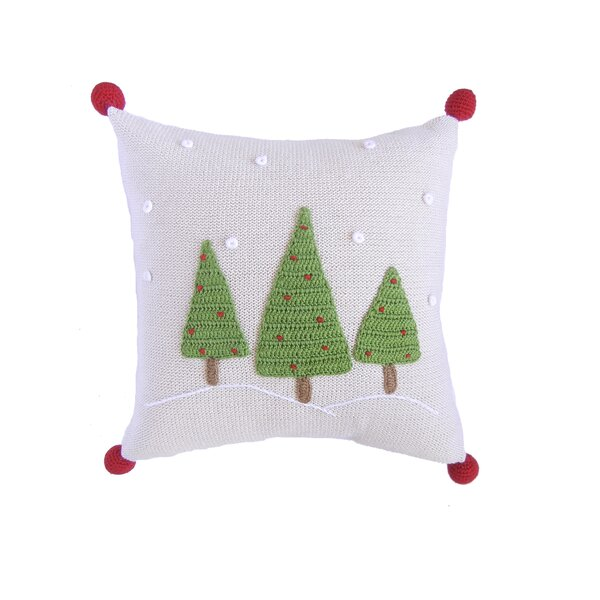 3 Christmas Tree with Snow 100% Cotton Pillow by The Holiday Aisle